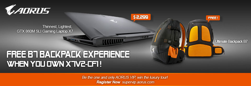 Aorus X7 free backpack